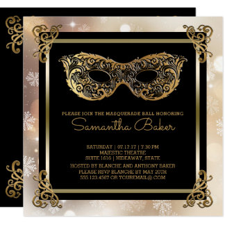 Sweet 16 Winter Masquerade | Sweet Sixteen Bokeh Card