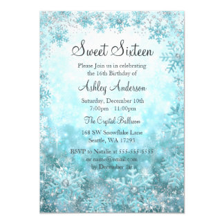 "Sweet 16 Winter Wonderland Sparkle Snowflakes 5"" X 7"" Invitation Card"