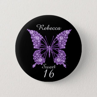 Sweet 16th Birthday Butterfly Personalized 2 Inch Round Button