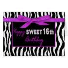 SWEET 16TH BIRTHDAY GREETING - ZEBRA - FUSCHIA BOW CARD