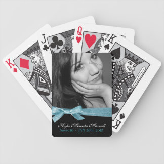 Sweet 16th Girly Aqua Ribbon Birthday Keepsake Bicycle Playing Cards