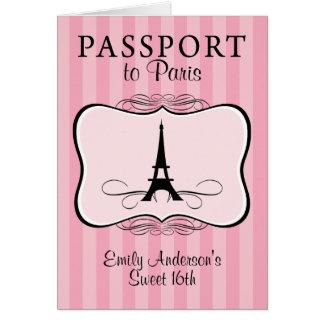 Sweet 16th Passport Invitation Note Card