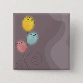 Sweet Abstract Flowers 2 Inch Square Button