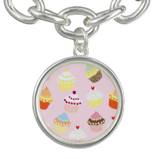 Sweet and Colorful Cupcake Pattern Charm Bracelet