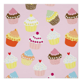 Sweet and Colorful Cupcake Pattern Poster