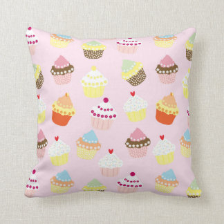 Sweet and Colorful Cupcake Pattern Throw Pillow