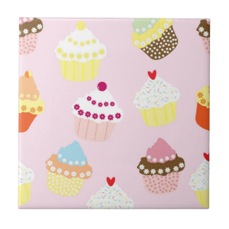 Sweet and Colorful Cupcake Pattern Tile