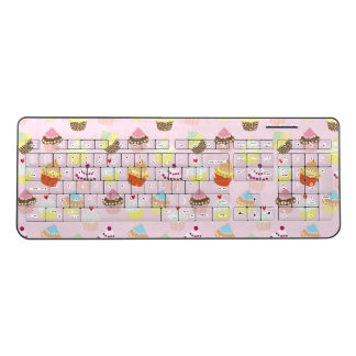 Sweet and Colorful Cupcake Pattern Wireless Keyboard