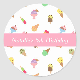 Sweet and Colorful Ice Cream Party Round Sticker