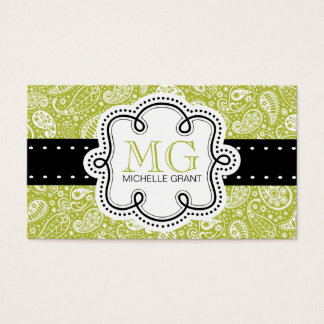Sweet and Funky Lime Green girly paisley patterned Business Card