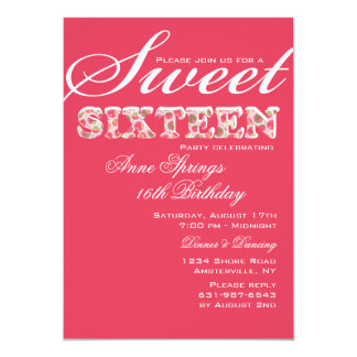 Sweet and Sassy Sixteenth Birthday Invitation