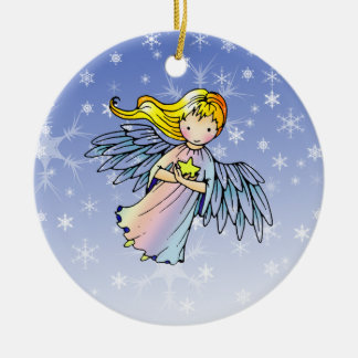 Sweet Angel Holding Star Christmas Ornament