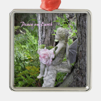 Sweet Angel in a Garden Silver-Colored Square Ornament