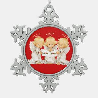 Sweet Angels Christmas Carols Snowflake Pewter Christmas Ornament