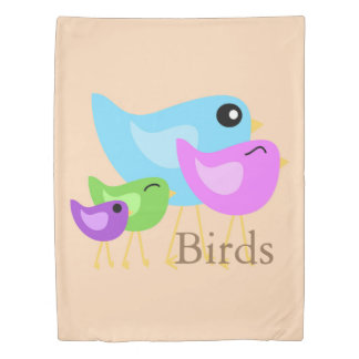 Sweet animal bird family duvet cover