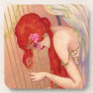 Sweet Antique Redheaded Angel on the Harp Beverage Coaster