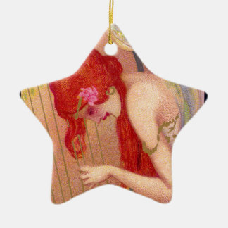 Sweet Antique Redheaded Angel on the Harp Ceramic Star Ornament