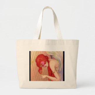 Sweet Antique Redheaded Angel on the Harp Large Tote Bag
