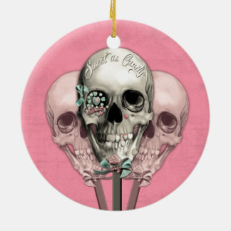 Sweet as Candy Lollipop skulls in pink. Round Ceramic Ornament