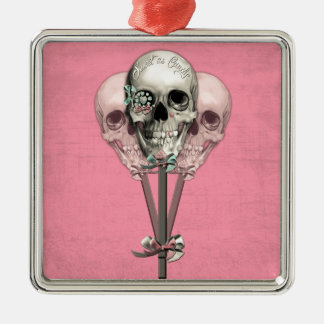 Sweet as Candy Lollipop skulls in pink. Silver-Colored Square Ornament