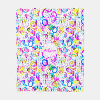 Sweet As Candy - vivid watercolor pattern Fleece Blanket