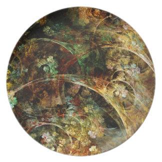 Sweet Autumn Abstract Fractal Art Plate