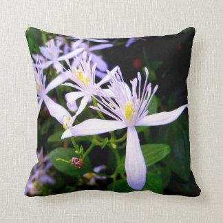 Sweet Autumn Clematis Floral Throw  Pillow Pillows