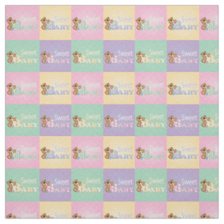 Sweet Baby Bear Squares | Pastel Colors Fabric