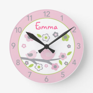 Sweet Baby Bird Personalized Nursery Wall Clock