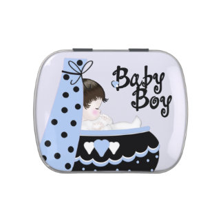 Sweet Baby Black and Blue Baby Shower Candy Candy Tins
