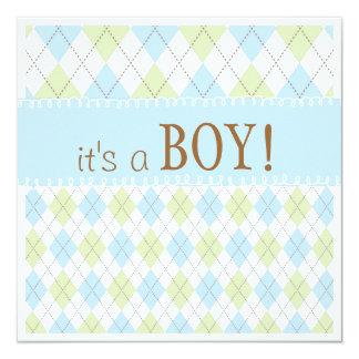 Sweet Baby Blue Argyle It's a Boy Baby Shower Card