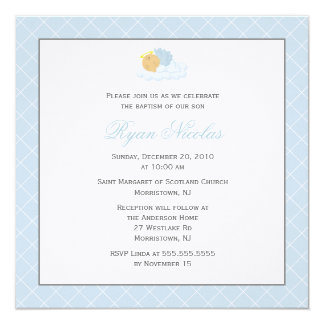 "Sweet Baby Boy Baptism 5.25"" Square Invitation Card"