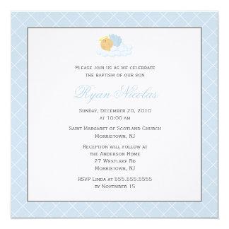 "Sweet Baby Boy Baptism 5.25"" Square Invitation Card"