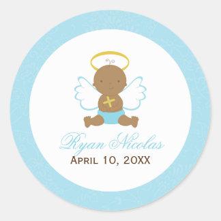 Sweet Baby Boy Baptism Round Sticker
