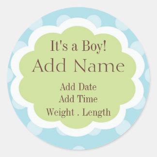 Sweet Baby Boy Birth Announcement Sticker