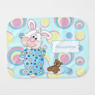 Sweet Baby Bunny in Blue Dots Baby Burp Cloths
