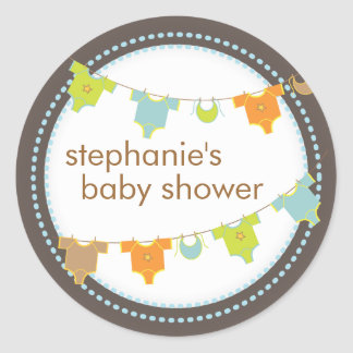 Sweet Baby Clothes LIne Boy Baby Shower Sticker