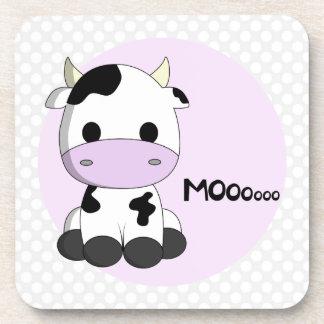 Sweet baby cow on polka dots girl coaster