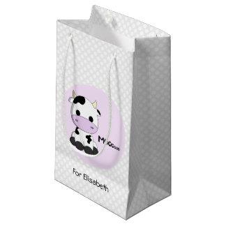 Sweet baby cow on polka dots girl name small gift bag