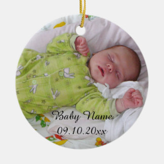 Sweet baby Create-Your-Own-Photo-Name Round Ceramic Ornament