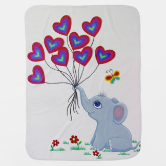 Sweet Baby Elephant with balloons Stroller Blanket