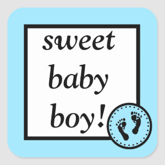 Sweet Baby & Footprints-Blue Square Sticker