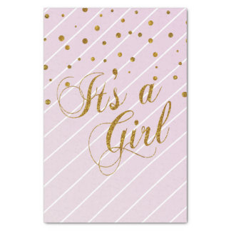 Sweet Baby Girl Pink and Gold Confetti Tissue Paper
