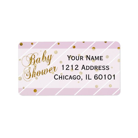 Sweet Baby Girl Pink & Gold Confetti | Baby Shower Label