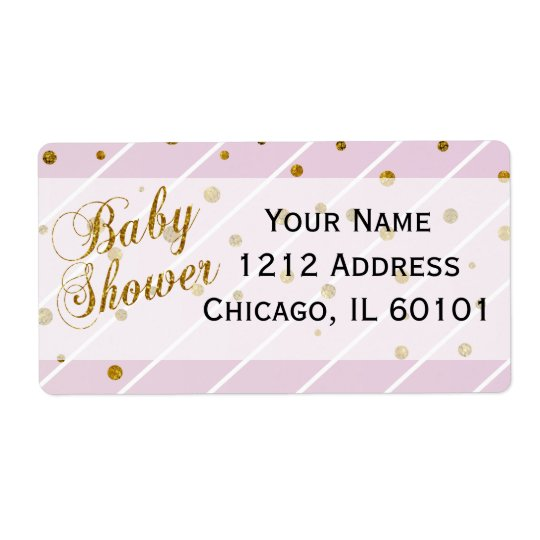 Sweet Baby Girl Pink & Gold Confetti | Baby Shower Shipping Label