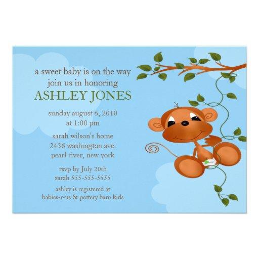 Sweet Baby Monkey Baby Shower Custom Invites