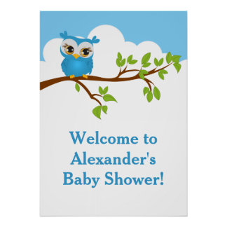 Sweet Baby Owl Boy Baby Shower Poster Print