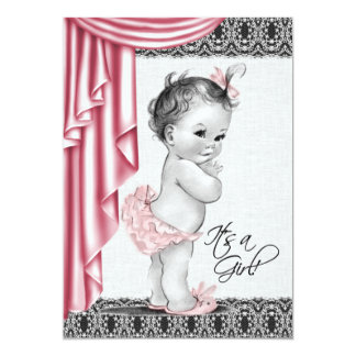 Sweet Baby Pink and Black Baby Shower Invitation