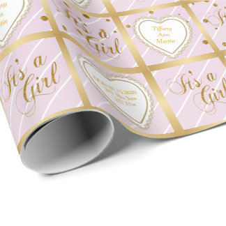 Sweet Baby Pink and Gold Confetti with DIY Text Wrapping Paper