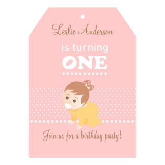 Sweet baby pink first birthday party invitation
